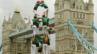 Human tower at Tower Bridge