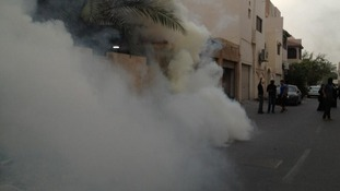Protesters say they tear gas has been fired at protesters in Bahrain.