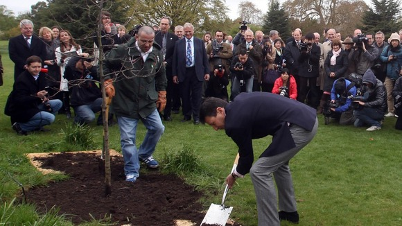 Lord Coe plants an oak tree to celebrate the UK&#x27;s role in the birth of the modern Olympic movement. 