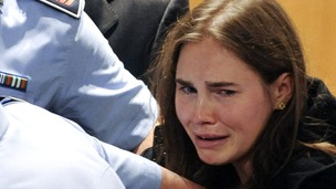 Amanda Knox reacts after her verdict in the killing of British student Meredith Kercher was announced at a court in Perugia