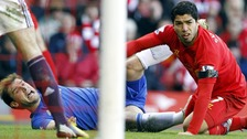 Liverpool&#x27;s Luis Suarez (right) and Chelsea&#x27;s Branislav Ivanovic