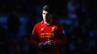 Liverpool's Luis Suarez seen shortly after he bit Chelsea's Branislav Ivanovic