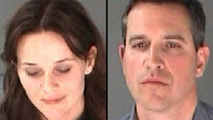 Police images of Reese Witherspoon, left, her husband James Toth after their arrests
