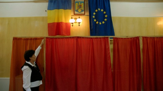 Parliamentary elections polling booths in Romania.