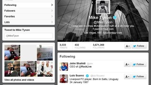 Mike Tyson followed fellow biter Luis Suarez on Twitter
