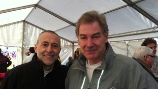 Chef Michel Roux with Tim before the marathon
