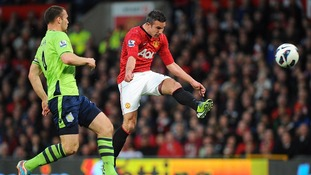 Robin Van Persie scores for Manchester United at Old Trafford