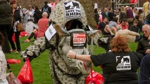The rhino costume worn by Justin Wateridge