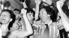 1980: Aberdeen Manager Alex Ferguson is surrounded by his players who are celebrating winning the League Title