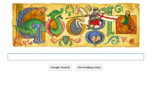 The 'Google Doodle' on the search engine's homepage celebrates St George's Day.