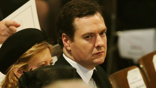 George Osborne pictured at Baroness thatcher's funeral.