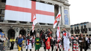 Crowds celebrate St George's day in Nottingham's Old Market Square