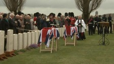 The coffins of the two soldiers are draped with Union Jack flags at their funerals