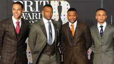 "Marvin Humes, Oritse Williams, Jonathan "" JB"" Gill and Aston Merrygold of JLS"