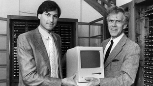 Steve Jobs (left) with the Apple Macintosh