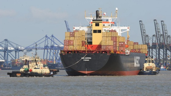 A container ship arrives at the Port of Felixstowe in Suffolk