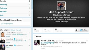 The profile page of the JLS Support Group on Twitter