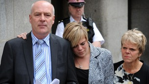 Bob and Sally Dowler, parents of murdered school girl Milly Dowler and her sister Gemma (centre