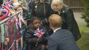 Aaliyah Brown, 6, was the first person Prince harry greeted.