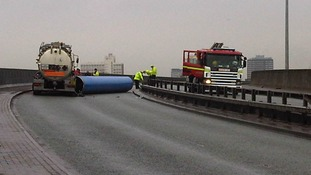 The 40ft steel pipes fell off the back of an HGV, blocking the A66.