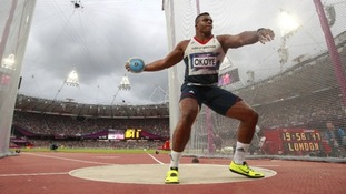 Great Britain's Lawrence Okoye saw his medal hopes dashed in front of his home crowd last summer