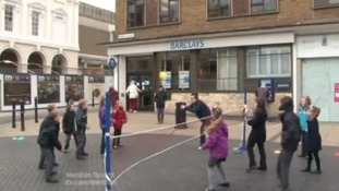 children playing volleyball