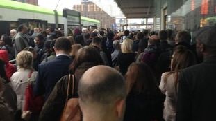 Commuters wait at East Croydon