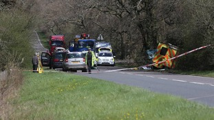 Picture of scene of ambulance crash which killed two.