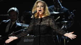 Adele performing 'Rolling in the Deep' at Grammy Awards in Los Angeles