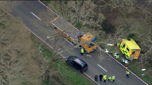 Two people have died after an ambulance hit a tree in Hampshire.