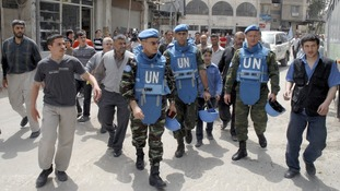 The first UN monitoring team in Syria, during a visit to Damascus