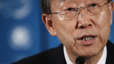 Ban Ki-Moon says the fragile ceasefire means initially 300 monitors have to be sent in