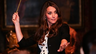 The Duchess of Cambridge enjoying her new wand.