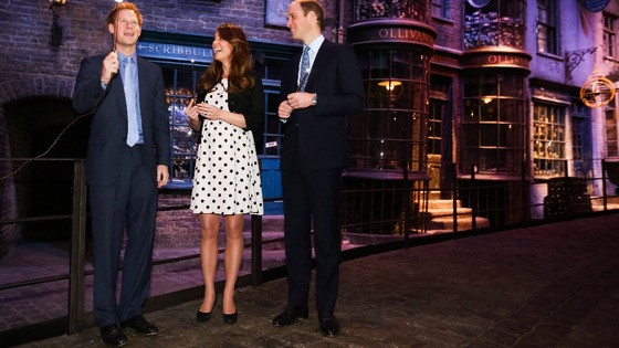 The Duke and Duchess of Cambridge and Prince Harry share a joke over a spell or two.