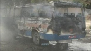 Vehicle gutted by explosion in Iraqi city of Kirkuk, 19 April 2012