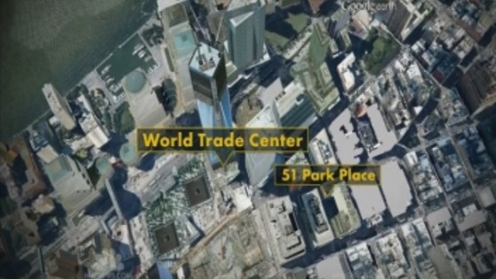An aerial view of Manhatten shows the street&#x27;s proximity to the World Trade Center site.