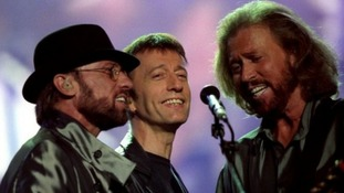 Maurice, Robin and Barry Gibb at a Wembley stadium concert in 2001.