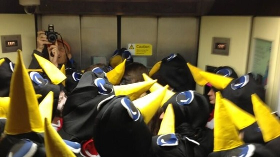 Penguins in a lift