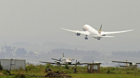 Ethopian Airwlines' 787 Dreamliner takes off from Bole International Airport in Ethiopia's capital Addis Ababa