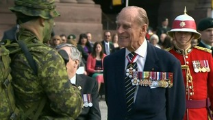 The Duke of Edinburgh chats to troops
