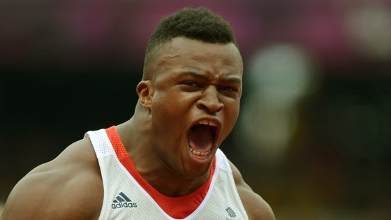 Lawrence Okoye competing at London 2012