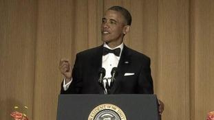 President Barack Obama sporting a fringe