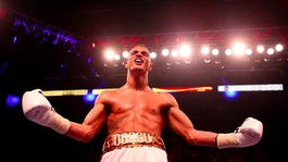 Anthony Ogogo celebrates his second round stoppage win against Kieron Gray