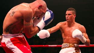 Anthony Ogogo (right) in action during his victory over Kieron Gray