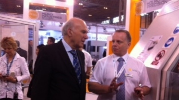Vince Cable MP, talking to manufacturing exhibitors in the Midlands