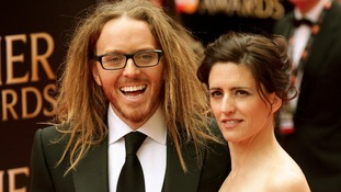 Tim Minchin, who wrote the music and lyrics for the nominated Matilda The Musical, and his wife Sarah.