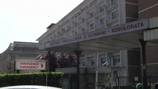 Rome's Policlinico Umberto I Hospital, where the police officer is in a serious condition.