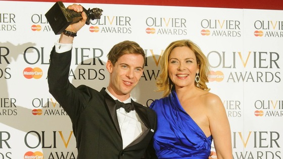 Winner of the Best Actor Olivier Award Luke Treadaway with presenter Kim Cattrall.