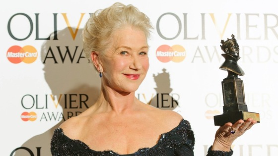 Dame Helen Mirren shows off her Olivier Award for Best Actress.