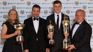 Gareth Bale (second right), Women's Player of the Year Kim Little (left), Barclay's Steve Cooper and PFA Chairman Gordon Taylor (right)